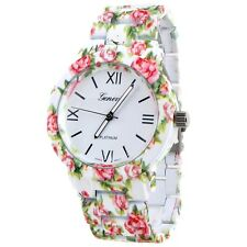 Light Pink Floral All Metal Soft Touch Band Geneva Latest Fashion Women's Watch