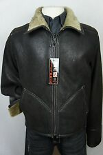 New Men 100% Real Shearling Leather Sheepskin Car Aviator Jacket Coat S-8XL