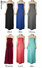 Ever77 Solid Tube Maxi Dresses on Side Ruching/USA Seller/S,M,L/TD1019