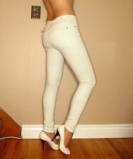 $259 Seven 7 For All Mankind Skinny Coated Leather Look Jeans White Snake 27-31