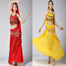 2014 New High Quality 6 color Sex Belly Dance Costume Bra + Skirt 120D Chiffon
