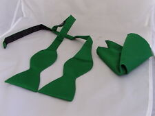 FOREST Green Polyester Self-tie Bow tie and Hankie Set >More U Buy > More U Save