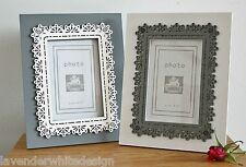Grey and White Fretwork Photo/ Picture Frame - Paper Cut Style Design Great Gift