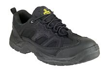 MENS BLACK AMBLERS STEEL TOE SAFETY WORK BOOT TRAINER STEEL MID SOLE FAB764