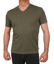 John Varvatos Star USA Men`s T-Shirt Green Cotton Trim Fit Slub V Neck Tee
