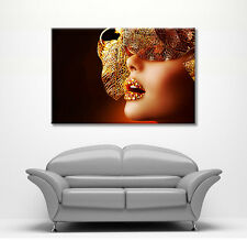LARGE FRAMED CANVAS FANTASY WALL ART  MASK LIPS GIRL PICTURE STUNNING NEW PRINT