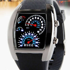 Mens Sports RPM Turbo Blue&White Flash LED Car Speed Meter Dial Wrist Watch Gift