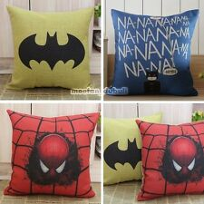 Mavel Batman Spiderman Super Hero Retro Linen Pillow Case Throw Cushion Cover