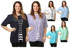 Ladies Womens Striped TwinSet Knitted Cardigans Sweaters Jumpers Tops Plus Sizes