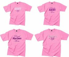 Rothco Pink Womens Proud Mom Wife Army Marines Military Short Sleeve T- Shirt
