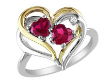 Created Ruby Heart Ring 1.2 ctw w/ Diamonds in S.Silver with Yellow Plating
