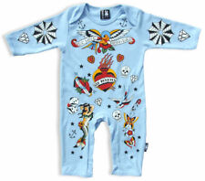 Six Bunnies Rockabilly Tattoo Baby Onesie Alternative Romper Nautical Punk Skull