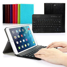 Luxury Slim Removable Metal Bluetooth Keyboard Leather Case For Apple Tablet PC
