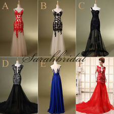 2014 Appliques Fashion Women Evening Dresses Backless Long Formal Prom Gowns