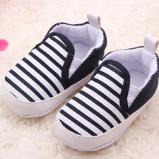 2014 New Unisex Kid Baby Boys Girls Stripe Canvas Sneakers Toddler Slip-On Shoes