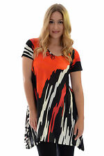 New Womens Top Ladies Asymmetric Abstract Print Stripes Tunic Plus Size Nouvelle