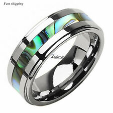 8Mm Tungsten Stunning jade&Abalone Stripe Inlaid Wedding Band Ring Men