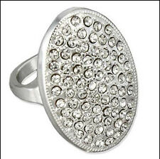 Women Fashion Alloy Crystal Rhinestone Silver Ring Wedding Engagement Size 6-10