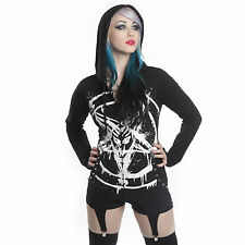HEARTLESS ANARCHIST BLACK HOODIE SUSPENDER GOTHIC BAPHOMET STUDS  CORSET LACE