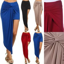 Twisted Asymmetrical Drape Skirt with Inner Mini Skirt Sexy Unique Stretch S M L