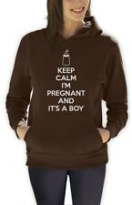 Keep Calm I'm Pregnant And It's A Boy Women Hoodie Baby Shower gender reveal