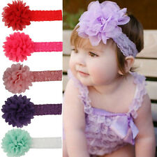 Baby Girls Cute Large Ruffle Flower Lace Chiffon Hairband Soft Elastic Bandeau