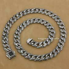 """18"""" ~ 36"""" 316L Stainless Steel Rose Flower Mens Biker Necklace Chain 4R013NA"""