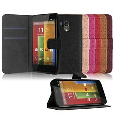 Flip Folio PU Leather Stand Case Wallet Protective Cover For Motorola Moto G