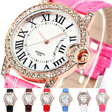 Couple Women Men Vogue Roman Dial Rose Gold Bling Crystal Bracelet Quartz Watch