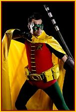 Robin CAPE Reveals the front of your Costume S to XL Yellow Gold Satin Batman