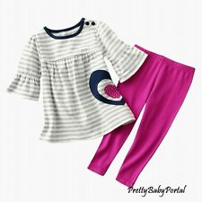 NEW GIRLS Baby Toddler Kid's Clothes Half-Sleeve Striped Tops+Leggings Set