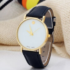 Women's Simple Round Dial Faux Leather Band Casual Quartz Analog Wrist Watch