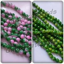 300 x Mottled Effect Round Glass Beads - 8mm [Green/Pink Available]