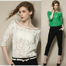 New Women Floral Lace Sexy Top Short Sleeve Summer Fashion Blouse T-shirt Blouse