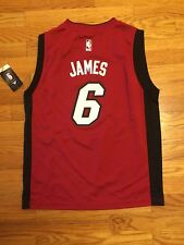 New LeBron James # 6 Miami Heat Adidas Replica Red Youth NBA Jersey