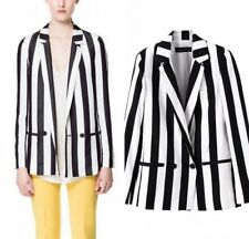 New Womens Fashion Autumn OL Wide Stripe Print Blazer Jacket Suits Coat S M L