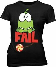 Juniors Black ZeptoLab Puzzle Video Game Cut the Rope Fail Om Nom T-shirt Tee