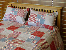 RED WHITE BLUE STRIPED PATCHWORK BEDSPREAD QUILT THROW TICKING BOYS TEENAGERS