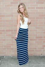 FOLD OVER WAIST CLASSIC NAVY WHITE STRIPED LONG SOFT SILKY MAXI SKIRT  S M L