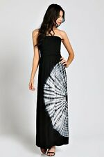 BLACK WHITE TIE DYE CIRCULAR STRAPLESS TUBE SILKY KNIT MAXI DRESS SUNDRESS S M L