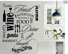 Wall Art Kitchen Dining Word Cloud Montage Living Room Vinyl Quote Sticker W047