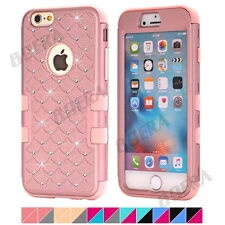 Hybrid Heavy Duty Impact Silicone Bling Diamond Matte Combo Case for iPhone 4 4S