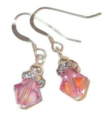 LIGHT ROSE Crystal OCTOBER Birthstone Earrings Sterling Silver Swarovski Element