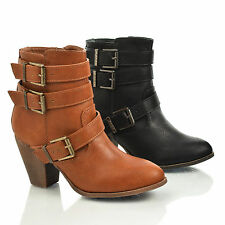 Finn1 Almond Toe Strappy Buckle Zip Up Thick Block Heel Ankle Riding Bootie