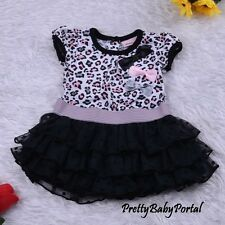 NEW GIRLS Baby Toddler Kid's Clothes Short Sleeve Leopard Ruffle Dress