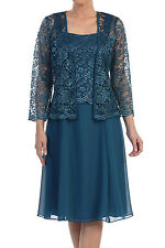 New Long Sleeve Floral Lace Jacket Sleeveless Chiffon Party Dress Suit Teal Blue