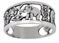 Sterling Silver Lucky Elephant Owl Horseshoe Seven Eye Clover Ring | Made in USA