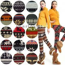 Vogue Warm Women Tribal Colorful Print Soft Knitted Pencil Tights Pants