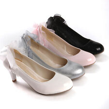 Hot Selling Womens Cute Bow Tie Round Toe Mary Jeans Dress Shoes Plus Size 4-11