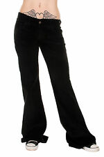 Womens Bell Bottom Pants Black Stretch 70's Retro Cords Flared Size 8-18 New